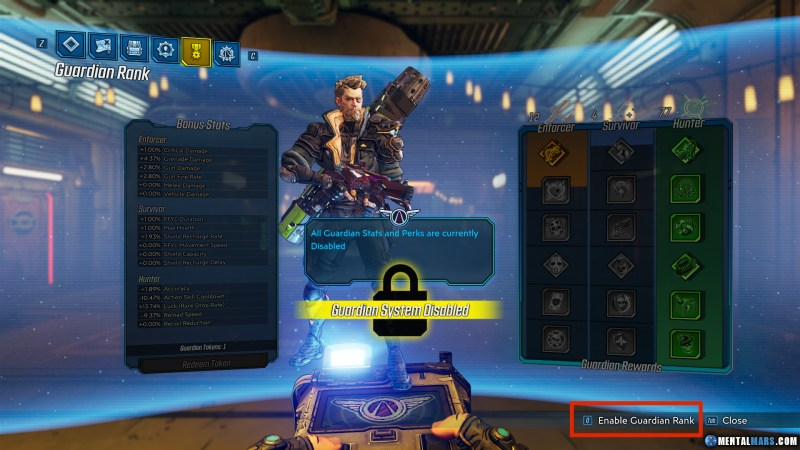 How to disable Guardian Rank in Borderlands 3