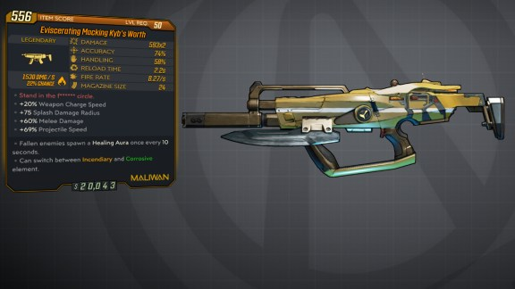 Borderlands 3 Legendary Maliwan SMG - Kyb's Worth