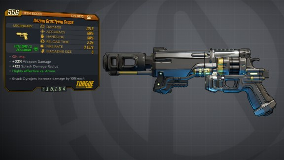 Borderlands 3 Legendary Torgue Pistol - Craps