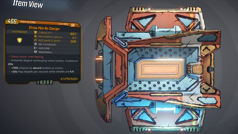 Borderlands 3 Legendary Hyperion Shield - Re-Charger