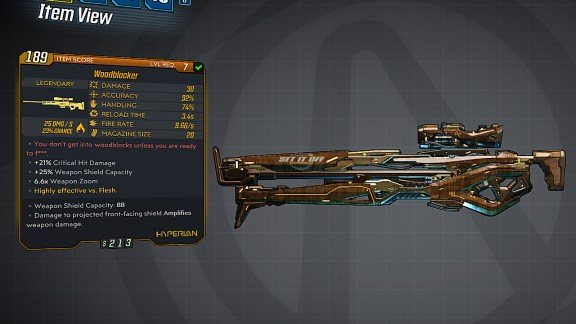 Borderlands 3 Legendary Hyperion Sniper Rifle - Woodblocker