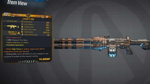Borderlands 3 Legendary Vladof Assault Rifle - Lucian's Call