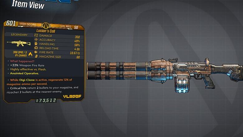 Borderlands 3 Legendary Vladof Assault Rifle - Lucian's Call