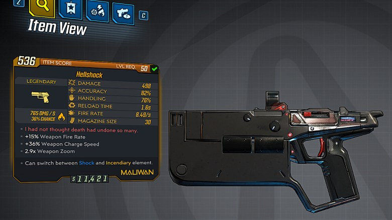 Borderlands 3 Legendary Maliwan Pistol - Hellshock