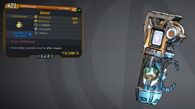 Borderlands 3 Legendary Tediore Grenade Mod - Quasar