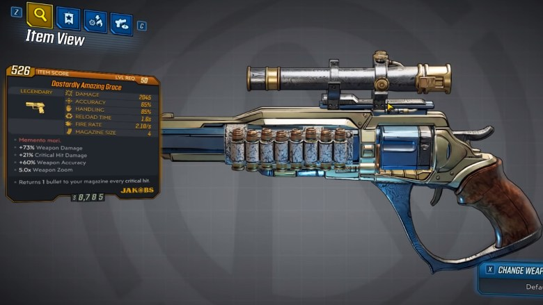 Borderlands 3 Legendary Jakobs Pistol - Amazing Grace