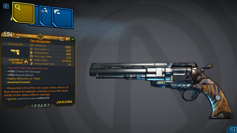 Borderlands 3 Legendary Jakobs Pistol - The Companion