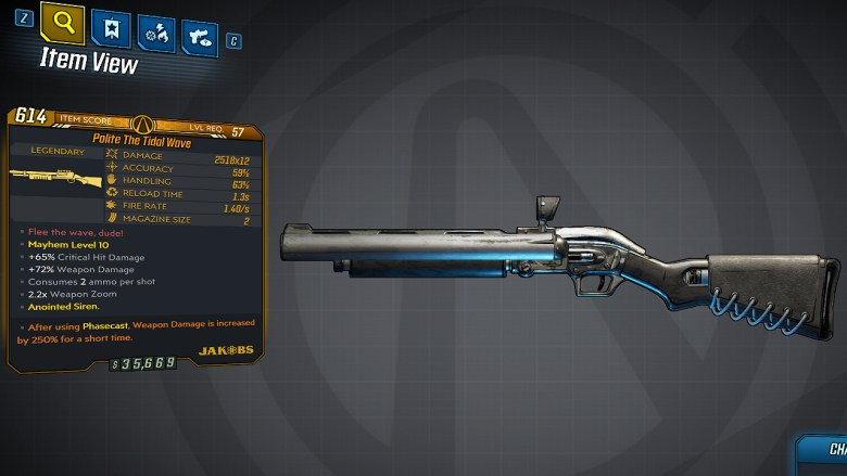 Borderlands 3 Legendary Jakobs Shotgun - Tidal Wave