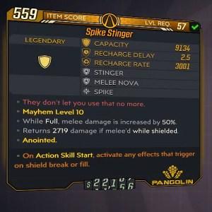 Borderlands 3 Legendary Pangolin Shield - Stinger Item Card
