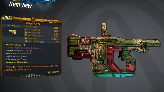 Borderlands 3 Legendary Tediore Pistol - Bangarang