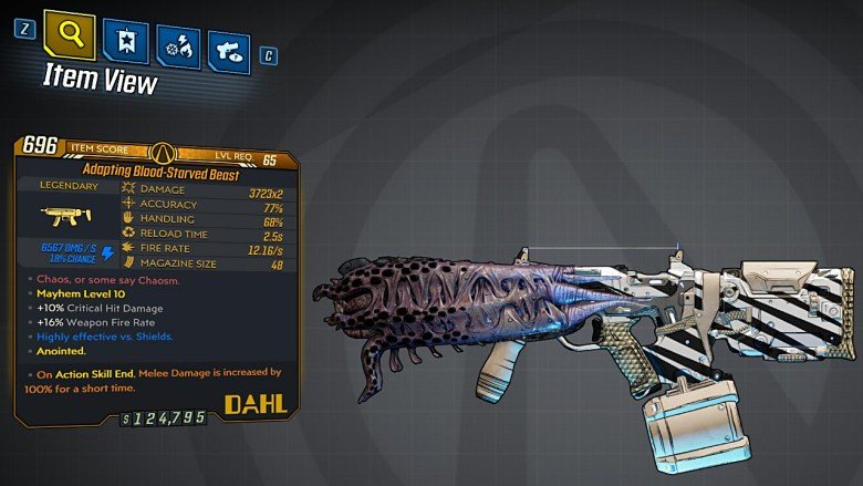 Borderlands 3 Legendary Dahl SMG - Blood-Starved Beast