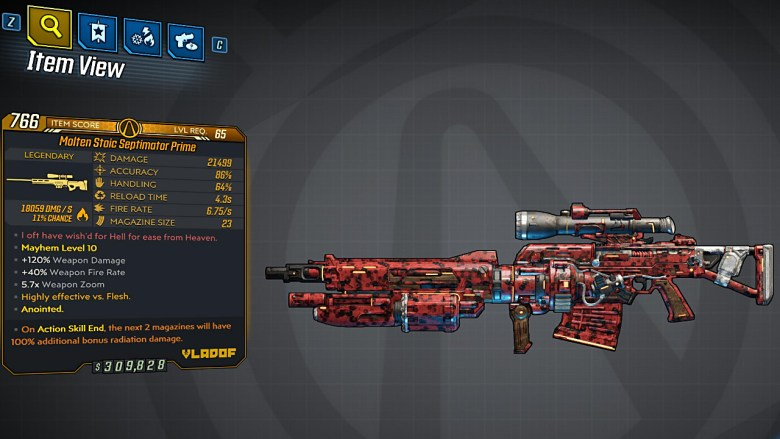 Borderlands 3 Legendary Vladof Sniper Rifle - Septimator Prime