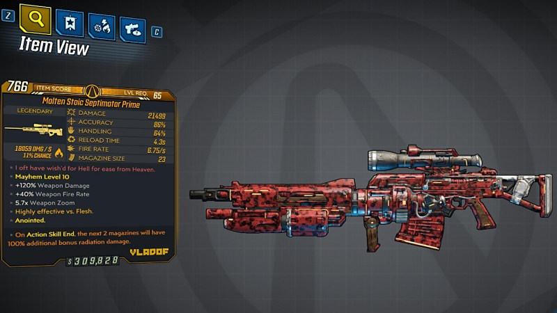 Borderlands 3 Legendary Vladof Sniper Rifle - Septimator Prime