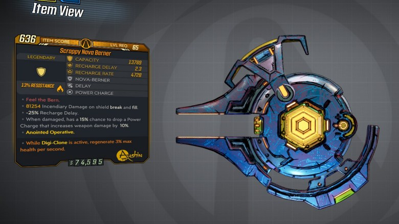 Borderlands 3 Legendary Anshin Shield - Nova Berner - LVL65