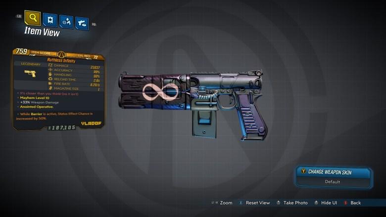 Borderlands 3 Legendary Vladof Pistol - Infinity - LVL72
