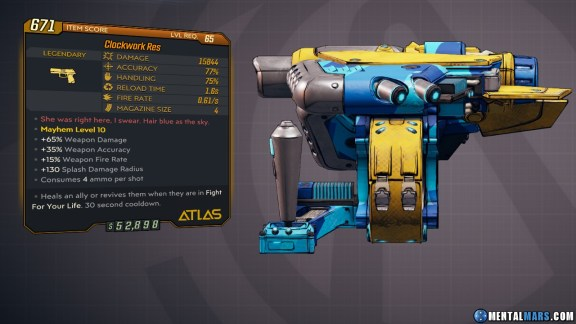 Borderlands 3 Legendary Atlas Pistol - Clockwork Res