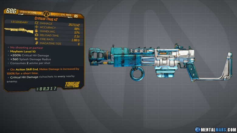Borderlands 3 Legendary Torgue Shotgun - Critical Thug