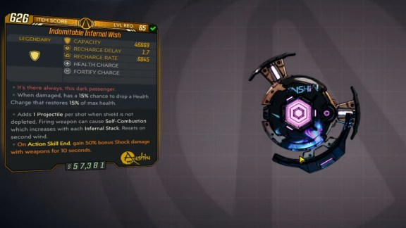 Borderlands 3 Legendary Anshin Shield - Infernal Wish