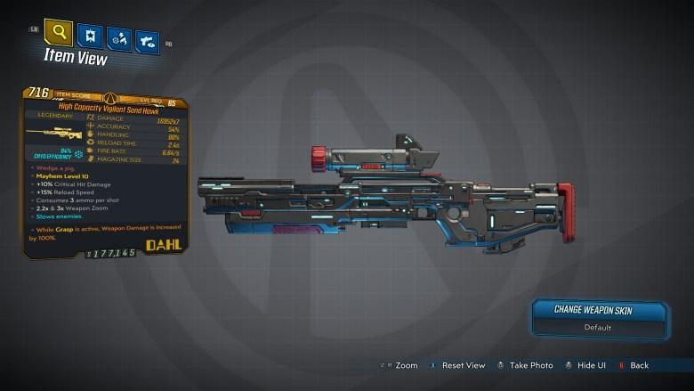 Borderlands 3 Legendary Dahl Sniper Rifle - Sand Hawk - LVL65