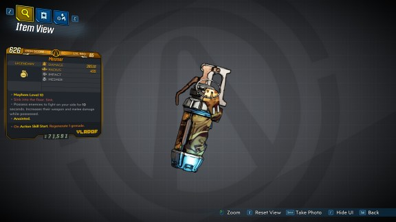 Borderlands 3 Legendary Grenade Mod - Mesmer