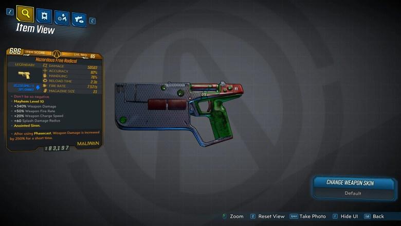 Borderlands 3 Legendary Maliwan Pistol - Free Radical