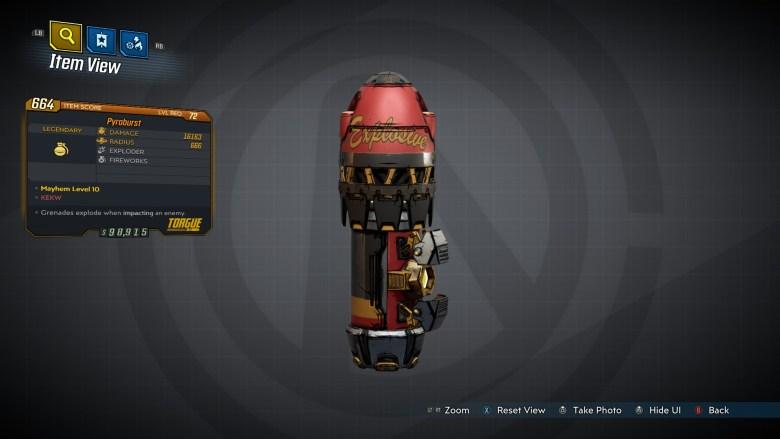 Borderlands 3 Legendary Torgue Grenade Mod - Pyroburst