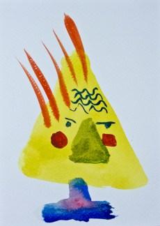 Head 2 ©John Jennings 2014 Watercolour onpaper 15 X 20cms