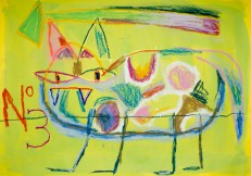 Occasional Cat No 3 ©John Jennings 2013 Mixed Media on paper. 59 X 42cms