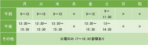 川崎メンタルクリニックの診療時間