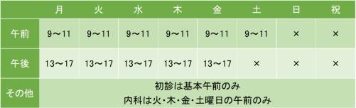 武田病院の診療時間