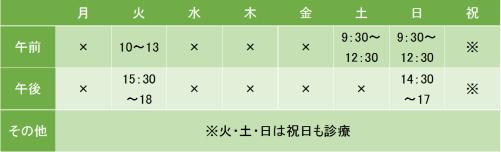 上野ストレスケアクリニックの診療時間