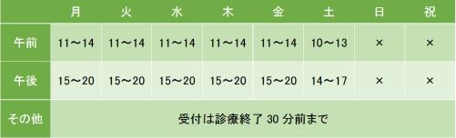 たわらクリニック東京の診療時間