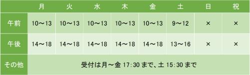 橋本こころのクリニックの診療時間