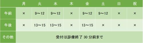 飯田橋斎藤医院の診療時間