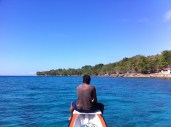 Cruising the ocean, the helmsman