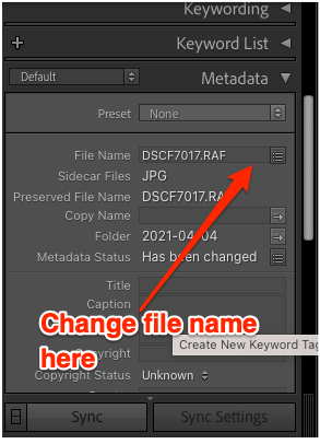 Lightroom unedited rename for single picture annotated