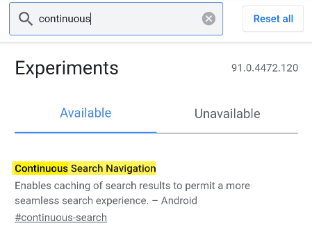 """Next, start typing """"Continuous Search Navigation"""" in the search box until you see the flag with the same name."""