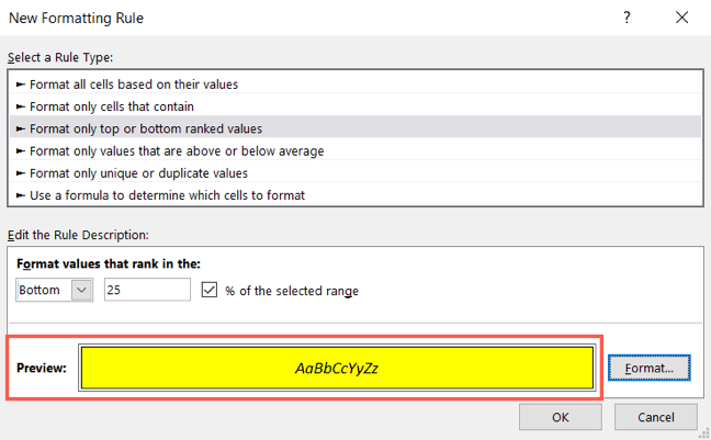 Review the conditional formatting preview and click OK