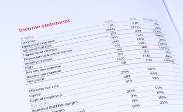 group income statement on white background