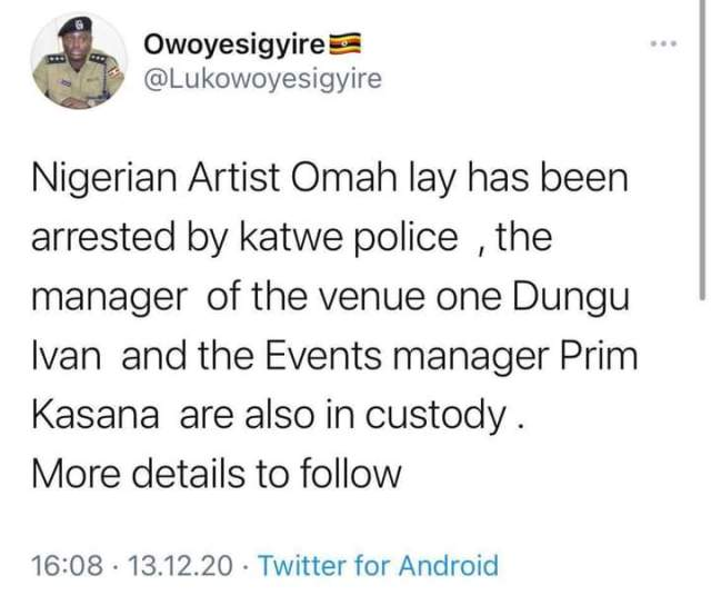 Nigerian Artist Omah lay has been arrested by katwe police