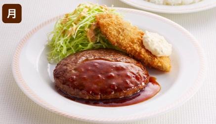 ジョイフルの日替わりランチ月曜日「ハンバーグ&魚フライ」2018年8月現在