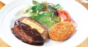 ココス 日替わりランチ金曜日 「デミチーズハンバーグ&北海道産野菜のコロッケ」