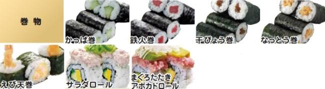 かっぱ寿司の食べ放題2018メニュー巻物