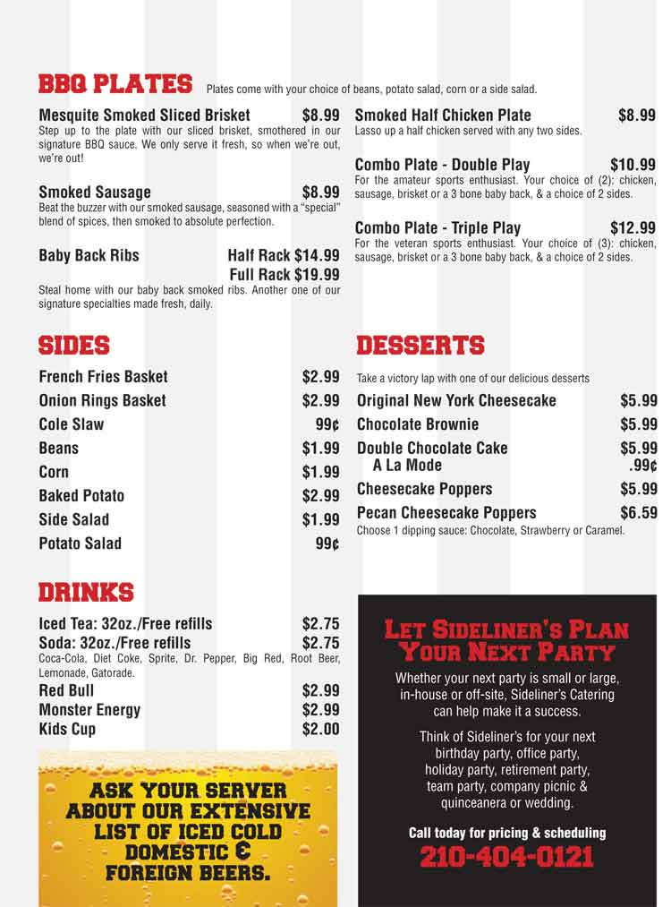 Sideliners Bar Amp Grill Restaurant San Antonio