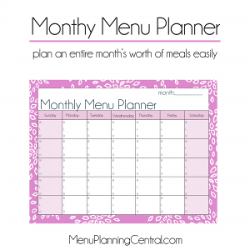 Monthly Menu Planner preview