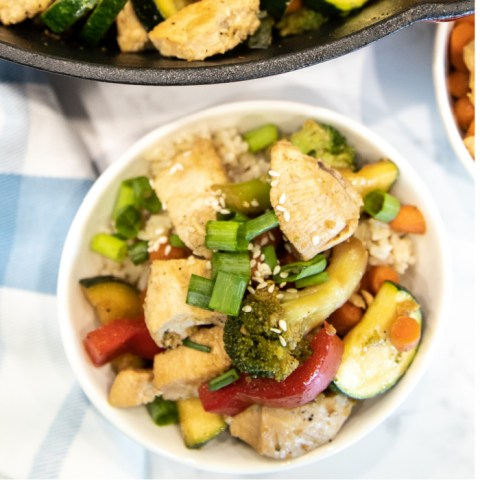 Teriyaki Chicken and Vegetables in a bowl