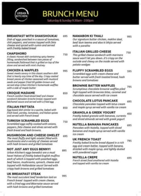 Urban Kitchen Lahore Menu with Prices 1