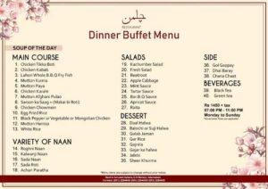 Dinner Buffet Chilman Restaurant Menu