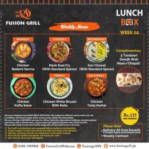 Fusion Grill Weekly Menu Card 1