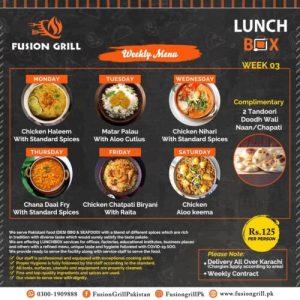 Fusion Grill Weekly Menu Card 4